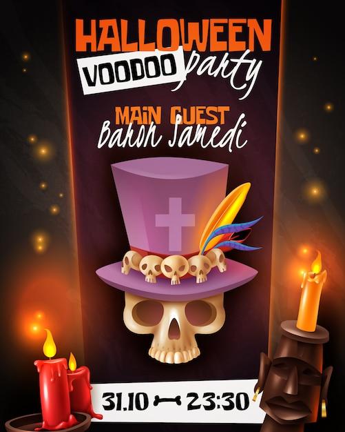 Halloween-affiche van de de aankondigingsuitnodiging van de voodoo-partij met schedel in de kaarsillustratie van het hoedenmasker Gratis Vector