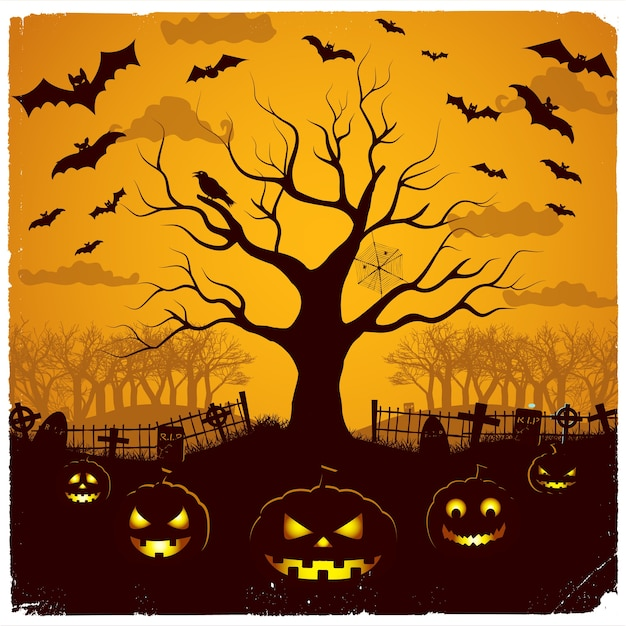 Halloween-avondontwerp met feestelijke lantaarns bij begraafplaatsboom en vleermuizen op gele hemel Gratis Vector