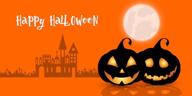 Halloween backgrund met pompoenen en griezelig spookhuis Gratis Vector