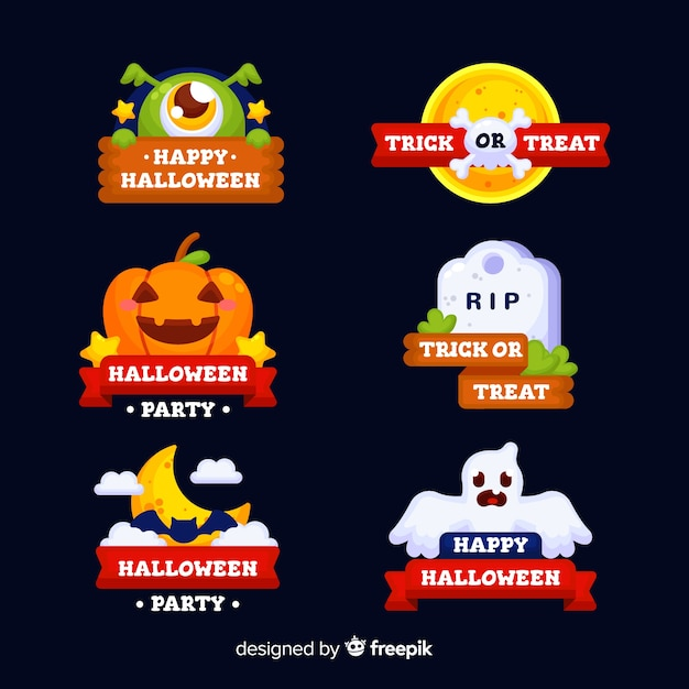 Halloween badges collectie met linten Gratis Vector