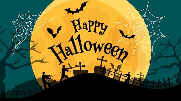 Halloween-banner in spooky night met zombie - happy halloween. Premium Vector