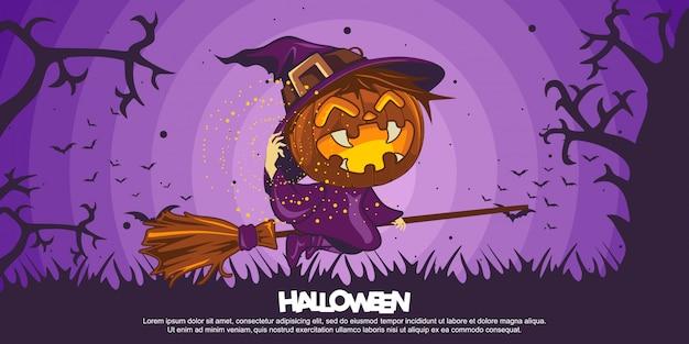 Halloween-banner met halloween-heksenkostuumillustratie Premium Vector