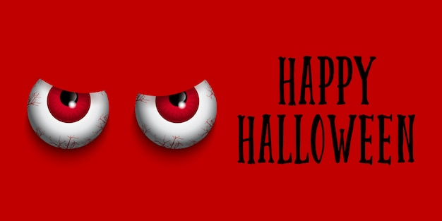 Halloween-banner met kwade ogen Gratis Vector