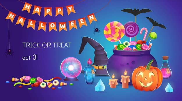 Halloween-banner met pompoenen met snoepjes, heksenhoed, ketel, drankjes, magische bal, kristallen en kaarsen. cartoon illustratie. pictogram voor games en mobiele applicatie. Premium Vector