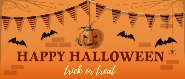Halloween banner ontwerp. hefboom-o-lantaarn, vleermuis en een groetinscriptie op een oranje achtergrond. Premium Vector