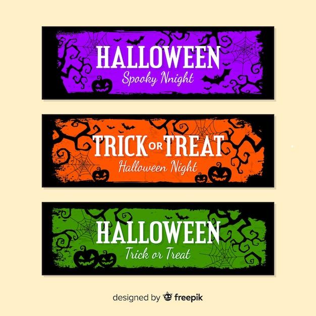 Halloween-banners met pompoenen in kleuren Gratis Vector