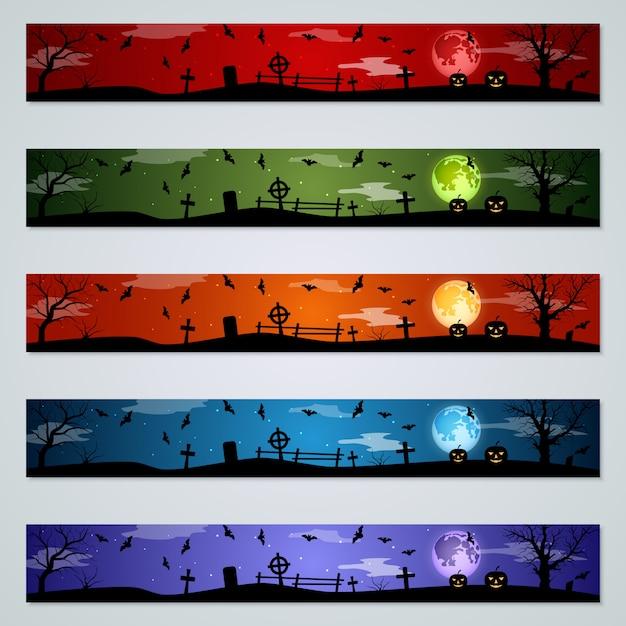 Halloween banners vector set Premium Vector