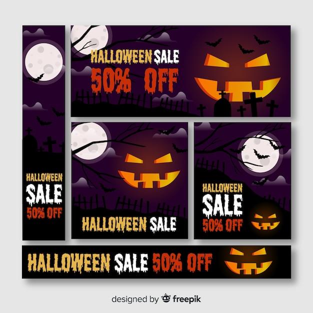 Halloween-bannerweb met grote gesneden pompoen Gratis Vector