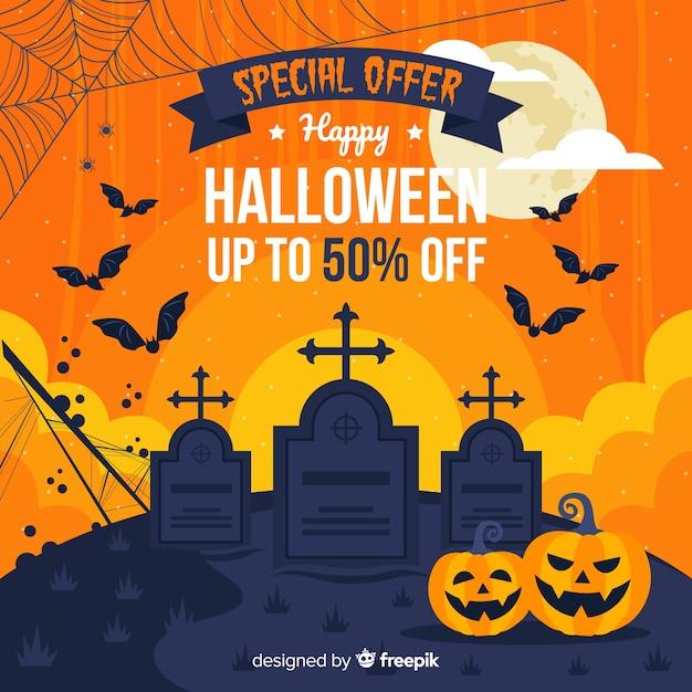 Halloween-begraafplaatsverkoop in vlak ontwerp Gratis Vector