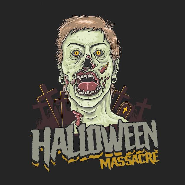 Halloween bloedbad zombie hoofd afbeelding Premium Vector