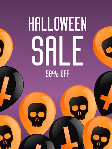 Halloween-boekje banner. paarse achtergrond met ballonnen, met kruisen en schedels. Gratis Vector