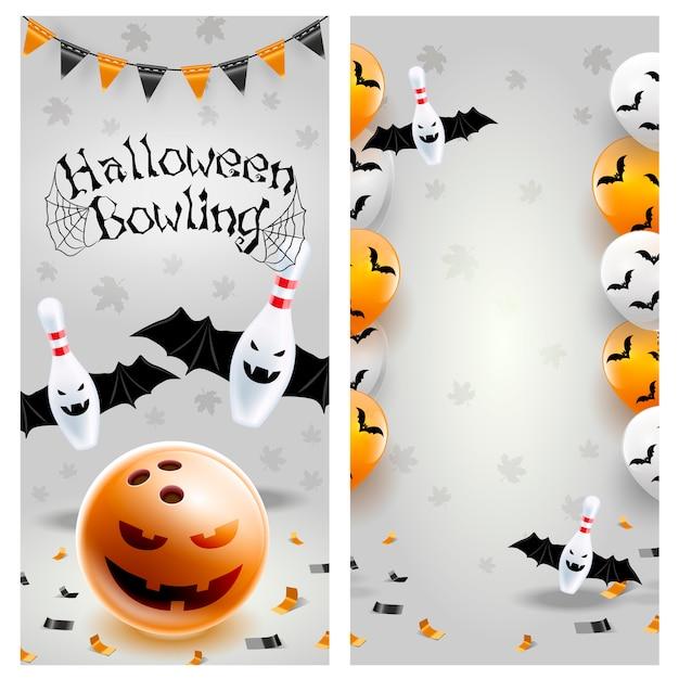 Halloween bowling sjabloon folder Premium Vector