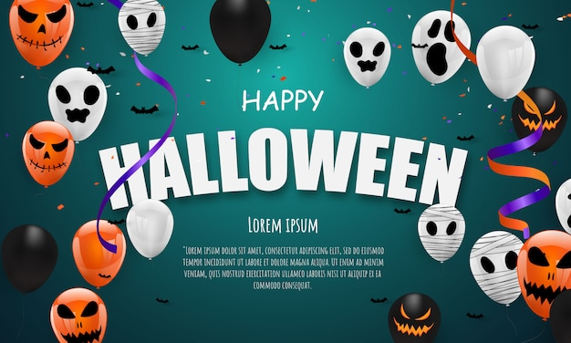 Halloween carnaval oranje paarse ballonnen Premium Vector