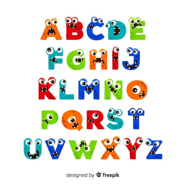 Halloween cartoon monster alfabet Gratis Vector