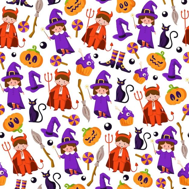 Halloween cartoon naadloze patroon - kinderen in halloween kostuums van duivel en heks, enge pompoenlantaarns, monster, zwarte kat, griezelige cake Premium Vector
