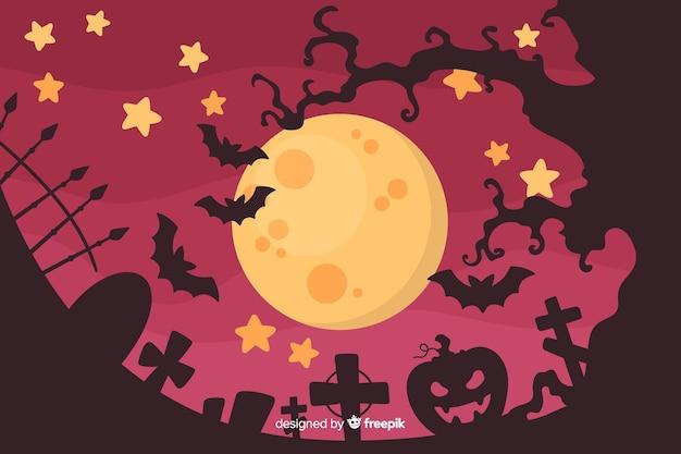 Halloween-concept met platte ontwerpachtergrond Gratis Vector