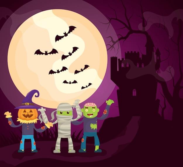 Halloween donker kasteel met karakters Gratis Vector