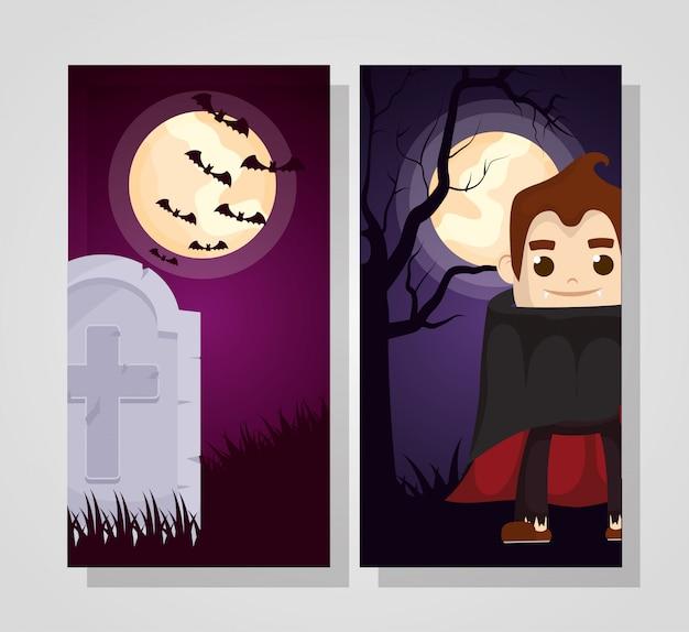 Halloween donker met dracula-karakter Gratis Vector