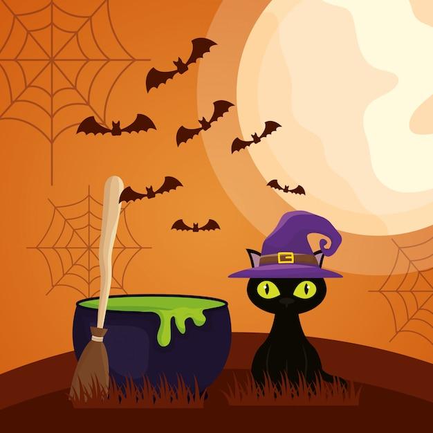Halloween-donker met ketel en kattenkarakter Gratis Vector