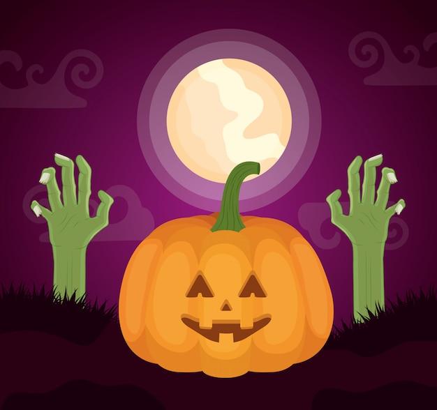 Halloween donker met pompoen en zombiehanden Gratis Vector