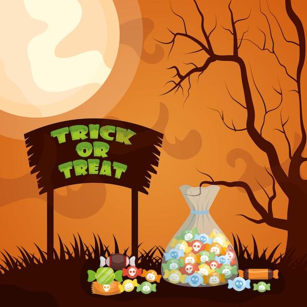 Halloween donker met snoepzak Gratis Vector