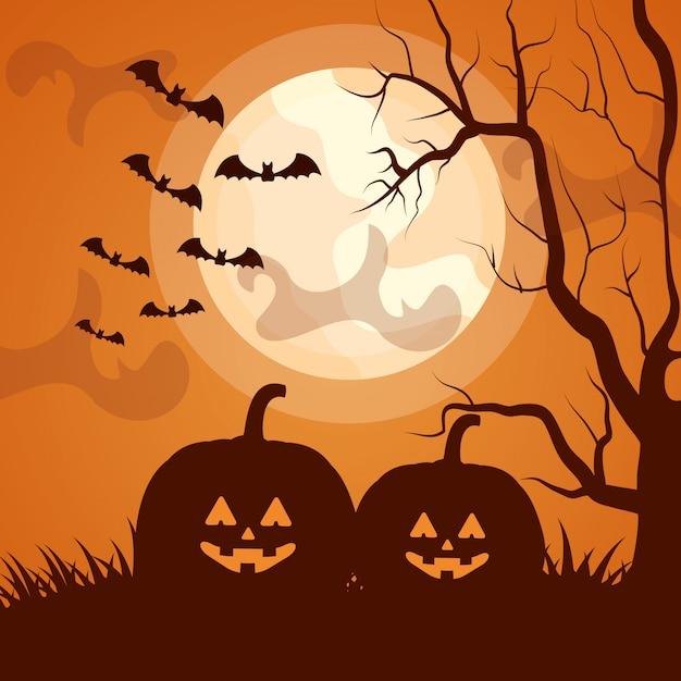 Halloween donker silhouet met pompoenen Gratis Vector