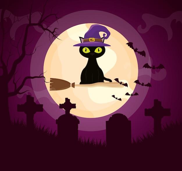 Halloween donkere begraafplaats met kat Gratis Vector