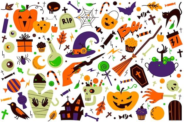 Halloween doodle set. Premium Vector