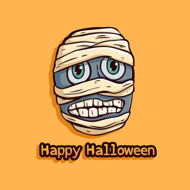 Halloween egypte mummie met grappige uitdrukking op oranje achtergrond Premium Vector