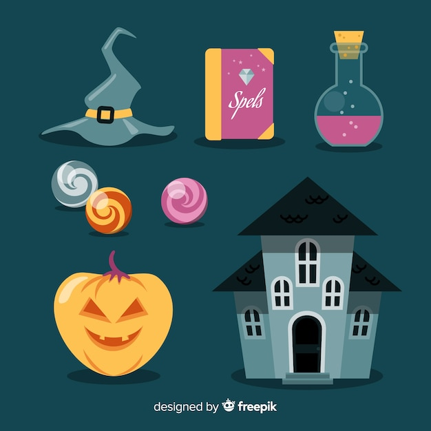 Halloween element collectie plat ontwerp Gratis Vector