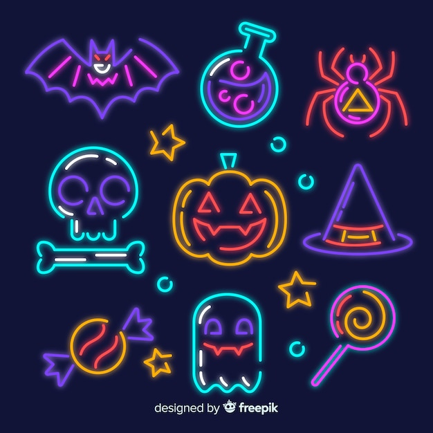 Halloween element neon teken collectie Gratis Vector