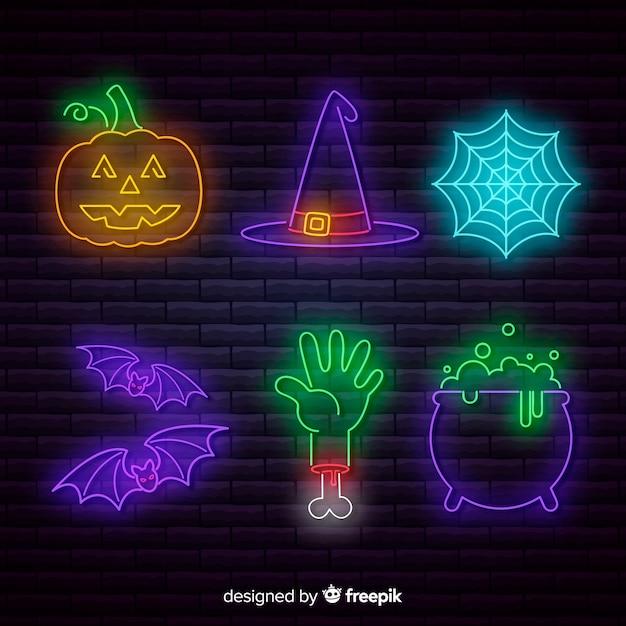 Halloween element neon teken collectie Gratis Vector