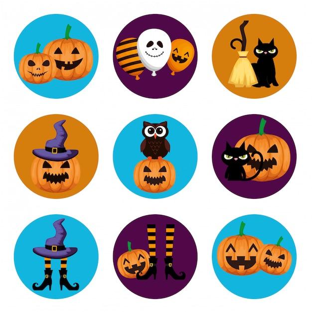 Halloween elementen set Gratis Vector