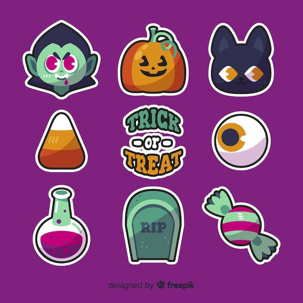 Halloween-elementenverzameling in plat ontwerp Gratis Vector