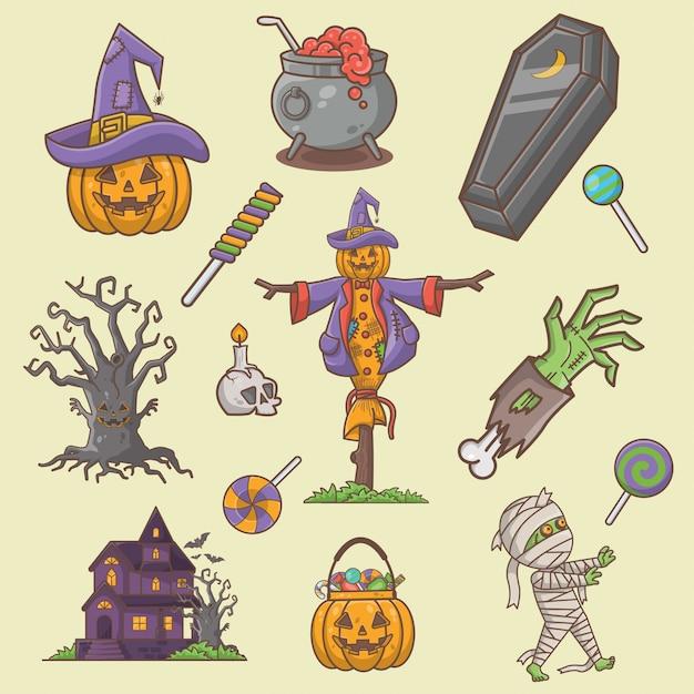 Halloween elementenverzameling Premium Vector