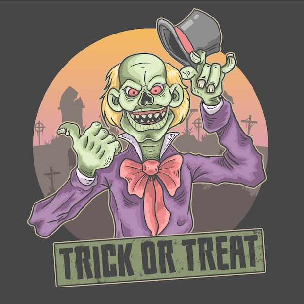 Halloween enge clown illustratie Premium Vector