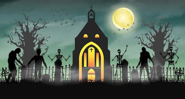 Halloween enge zombie in kerkhof met kerk Premium Vector