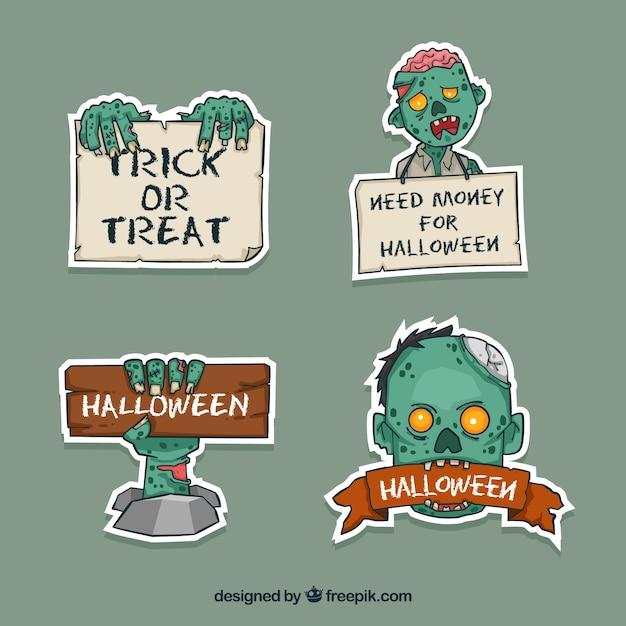 Halloween etiketten met zombie Gratis Vector