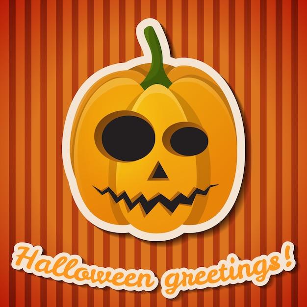 Halloween-feest feestelijke poster met papieren inscriptie en kwade enge pompoen op oranje gestreepte achtergrond Gratis Vector