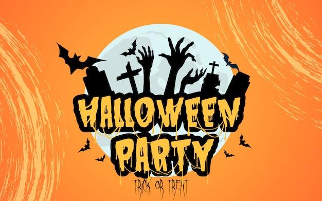 Halloween-feest met griezelige grafsteen Premium Vector