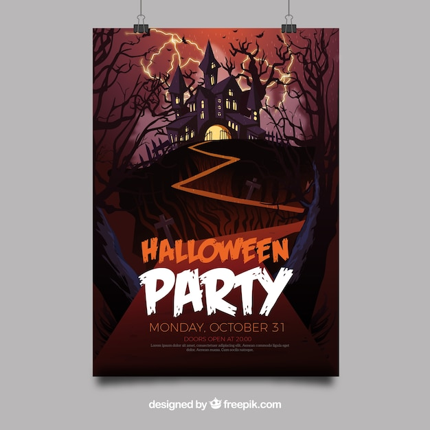 Halloween feest poster met kasteel Gratis Vector