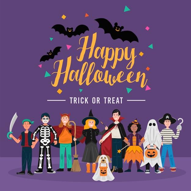 Halloween-feestachtergrond, kinderen in halloween-kostuums. Premium Vector