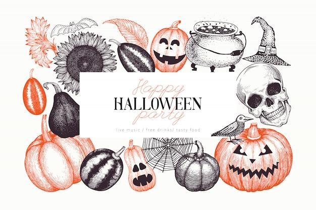 Halloween-feestachtergrond Premium Vector