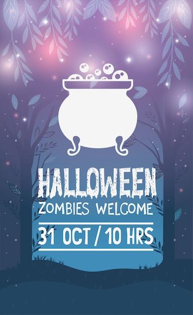 Halloween-feestaffiche Premium Vector