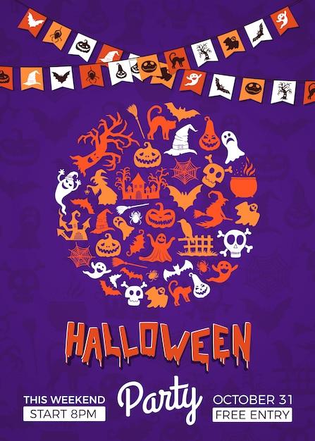 Halloween-feestuitnodiging Premium Vector