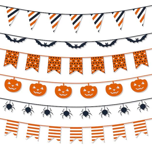 Halloween garland-collectie. Premium Vector