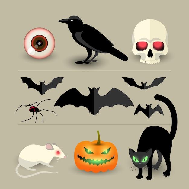 Halloween geïsoleerde decoratieve iconen set van pompoen vleermuis kraai schedel spin zwarte kat en witte rat cartoon Gratis Vector