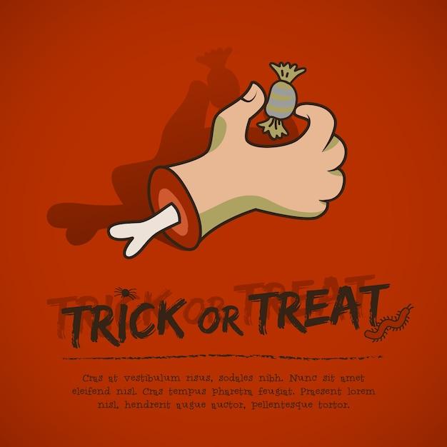 Halloween groet poster met tekst eng zombie arm en snoep op rode achtergrond Gratis Vector