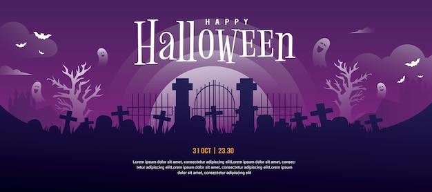 Halloween hoofdbannermalplaatje voor website of sociale media omslagontwerp met paarse kleurovergang Premium Vector