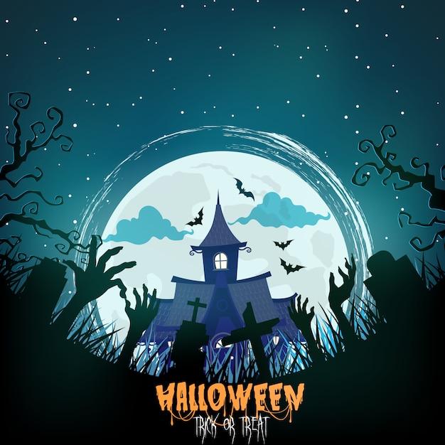 Halloween-huis met griezelig bos bij nacht Premium Vector